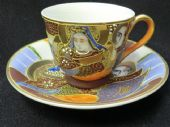 "Japanese ""Immortals"" espresso cup & saucer"